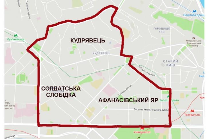 Кордони історичних районів Кудрявець, Солдатська слобідка та Афанасівський Яр