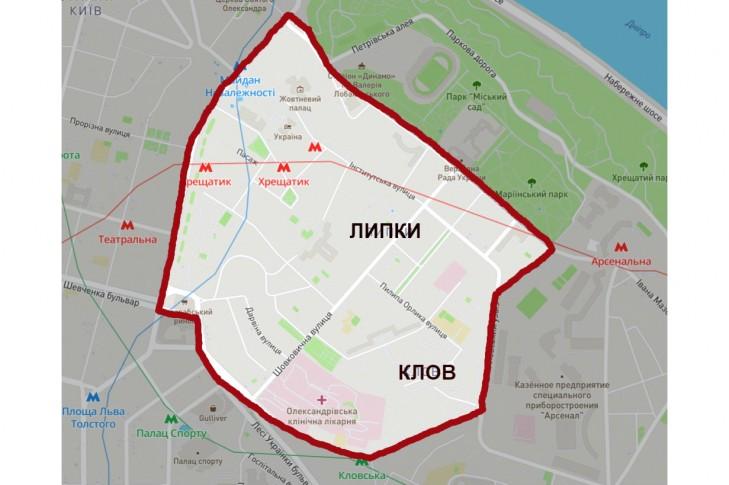 Кордони історичних районів Липки та Клов