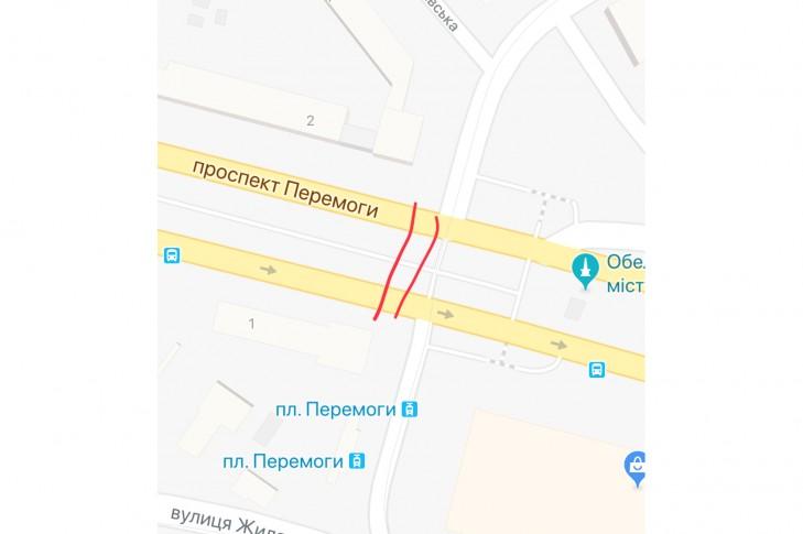 Наземный переход через проспект Победы с выходом на будьвар